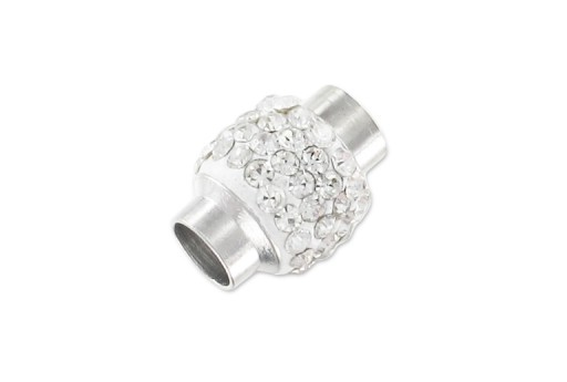 Steel Magnetic Clasp with Strass - White 17x12mm