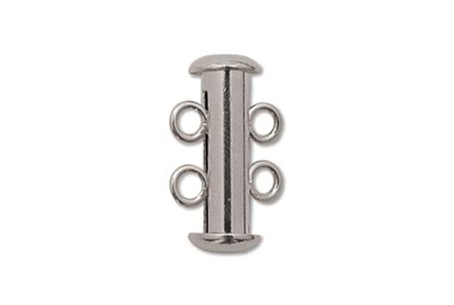 Rhodium Plated Copper 2 Strand Magnetic Clasp 5x16mm