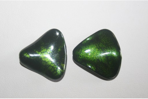 Acrylic Beads Green Triangle Corrugated 24x26mm - 8Pz