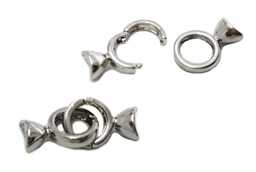 Rhodium Silver Plated Clasp with Bead Cup End 27x10mm