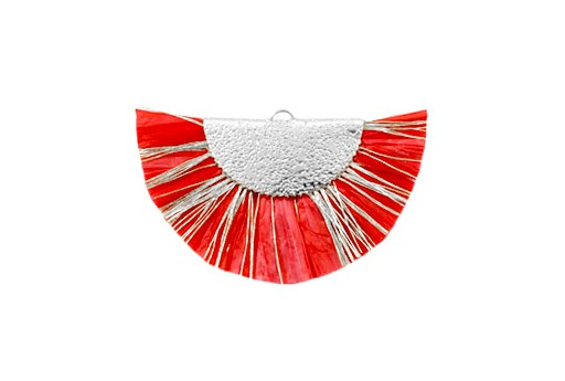 Raffia Tassel Pendant - Gold Circle - Red-Silver 46x25mm
