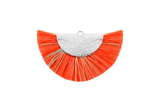 Raffia Tassel Pendant - Gold Circle - Orange-Silver 46x25mm