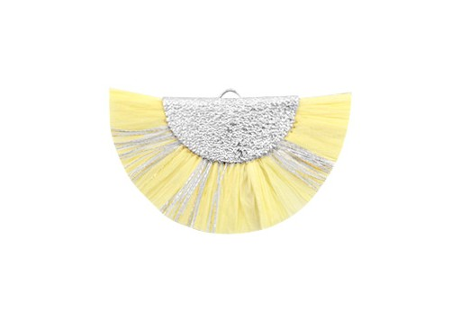 Raffia Tassel Pendant - Gold Circle - Yellow-Silver 46x25mm