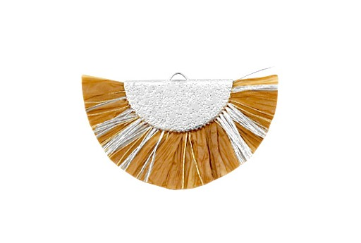 Raffia Tassel Pendant - Gold Circle - Brown-Silver 46x25mm