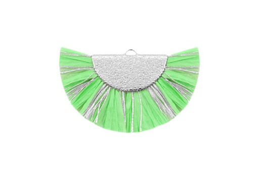 Raffia Tassel Pendant - Gold Circle - Green-Silver 46x25mm
