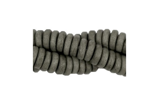 Greek Ceramic Beads Disc - Grey 6mm - 20pcs