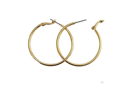 Steel Earring Round - Gold 40X2mm - 2pcs