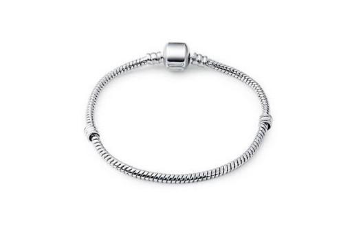 Bracciale Perline Foro Largo - Platino 18cm
