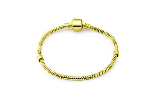 Stainless Steel Bracelet for Large Hole Beads - Golden 18cm