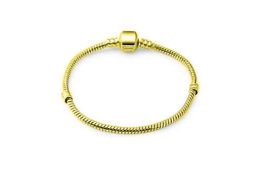 Bracciale in Acciaio per Perline Foro Largo - Oro 19cm