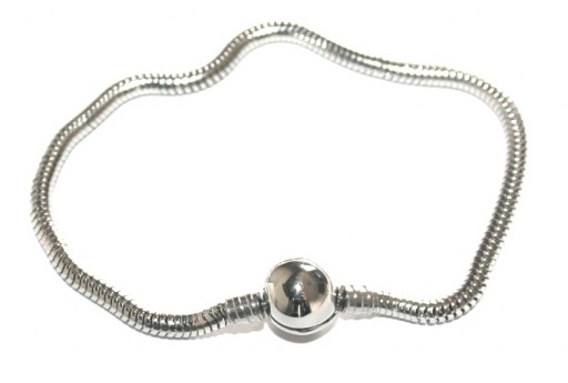 Bracciale in Acciaio per Perline Foro Largo - Platino 19cm
