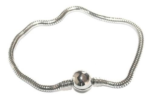 Bracciale in Acciaio per Perline Foro Largo - Platino 20cm