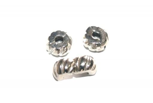Large Hole Beads Style Clasps Platinum Colour 10x6cm - 2pcs