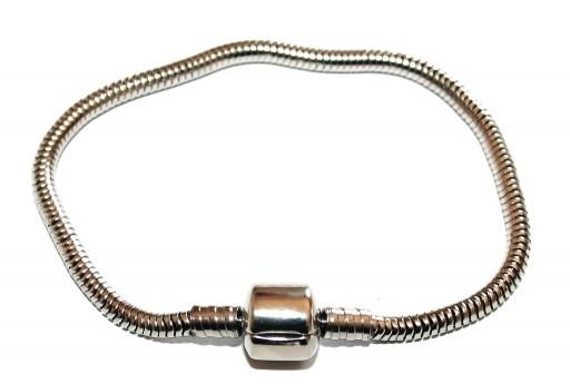 Bracciale in Acciaio per Perline Foro Largo - Platino 18cm
