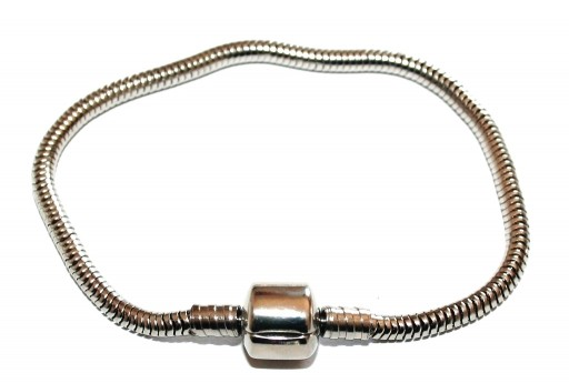 Stainless Steel Bracelet for Large Hole Beads - Platinum 18cm