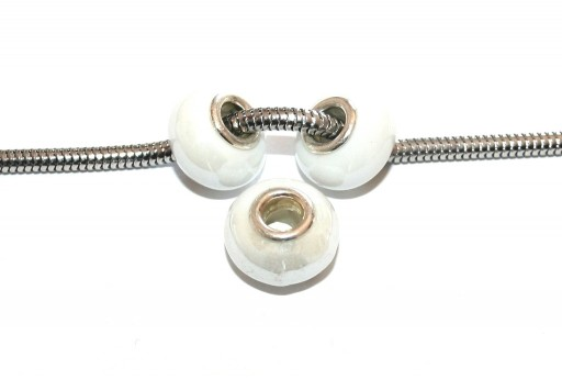 Large Hole Ceramic Beads - White 15x10mm - 4pcs