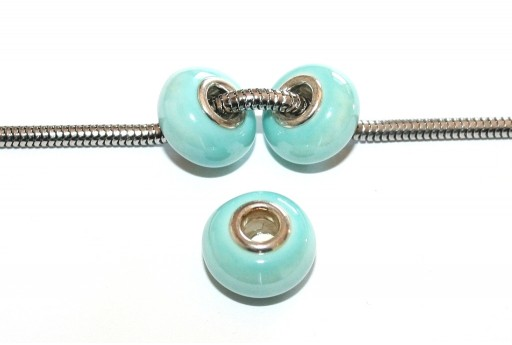 Large Hole Ceramic Beads - Light Blue 15x10mm - 4pcs