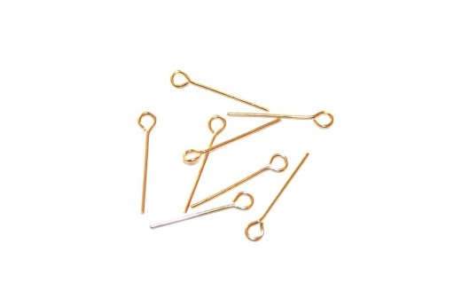 Gold Plated Eyepins 60mm - 8pcs