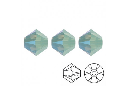 Bicono Swarovski 5328 Chrysolite Opal Shimmer 4mm - 20pz