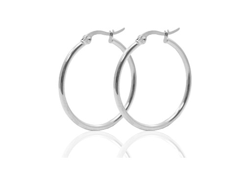 Steel Earring Round - Platinum 20x2mm - 2pcs