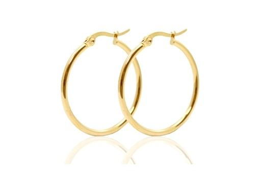 Steel Earring Round - Gold 30X2,1mm - 2pcs