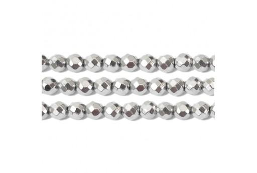 Pietre Dure Hematite Sfera Sfaccettata - Argento 4mm - 102pz