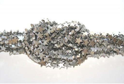 Pietre Dure Hematite Stella - Argento 6mm - 80pz