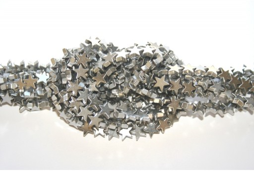 Rhodium Plated Hematite Star Beads - Silver 6mm - 80pcs