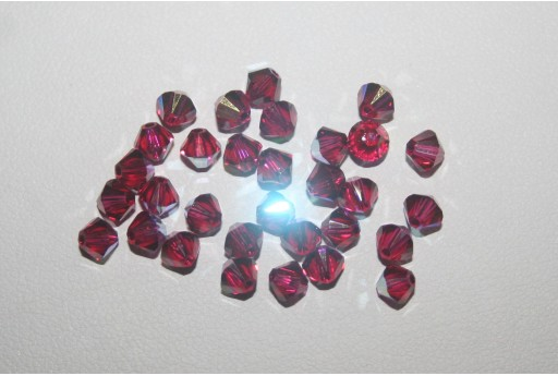 Bicono Swarovski Ruby AB 4mm 5328 501
