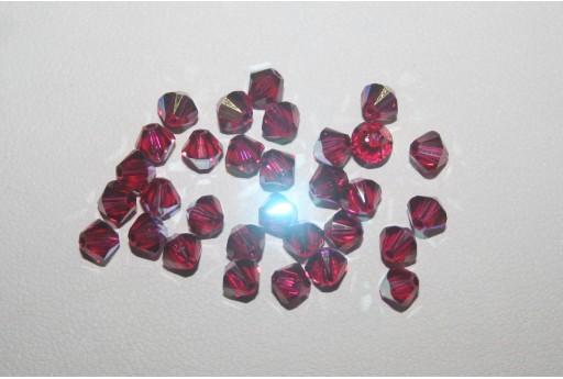 Bicono Swarovski Ruby AB 4mm 5328 501