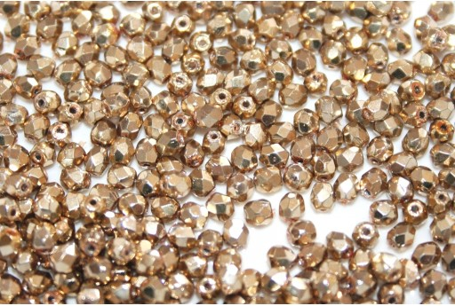 Fire Polished Beads Coated Golden 3mm - 60pz