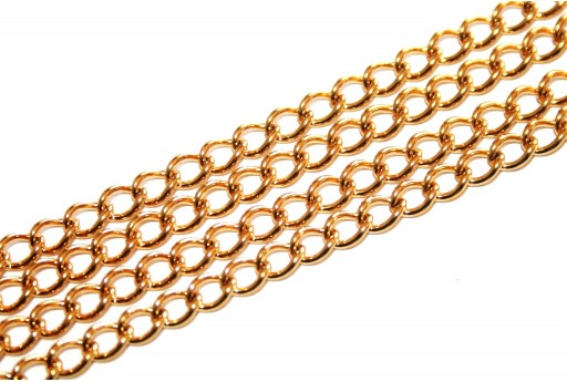 Gold Plated Steel Chain Oval 5x3,5mm - 50cm
