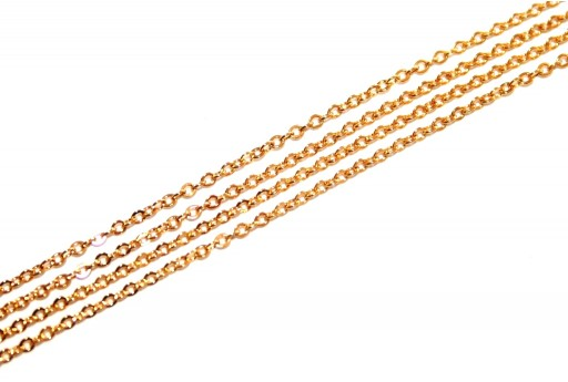 Gold Plated Steel Chain Oval 1,1x0,3mm - 50cm