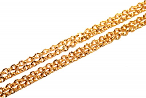 Gold Plated Steel Chain Oval 2,5X2mm - 50cm