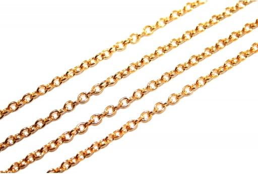 Gold Plated Steel Chain Oval 2,2X2mm - 50cm