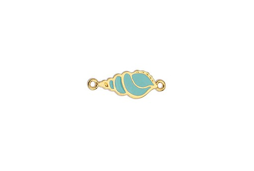 Link Triton Motif With Pattern With 2 Rings - Turquoise 8x23mm - 2pcs
