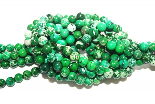Dyed Jasper Impression Round Beads Dark Green 6mm - 65pz