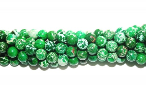 Pietre Dure Jasper Impression Verde Scuro Tondo 8mm - 50pz