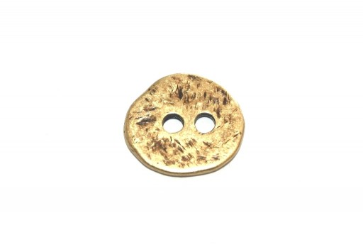 Hammered Metal Component Bronze Button Round 17mm  - 2pcs