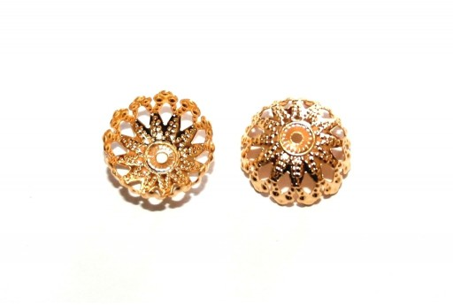 Stainless Steel Bead Caps Flower - Golden 12mm - 4pcs