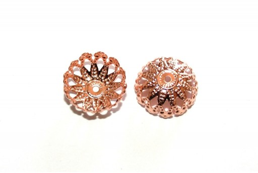 Stainless Steel Bead Caps Flower - Rose Gold 12mm - 4pcs