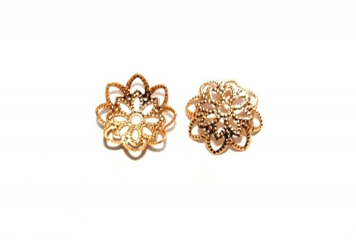 Stainless Steel Bead Caps Flower - Gold 11mm - 4pcs