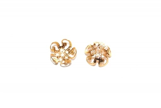 Stainless Steel Bead Caps Flower - Gold 8mm - 6pcs