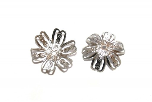 Stainless Steel Bead Caps Flower - Platinum 14mm - 10pcs