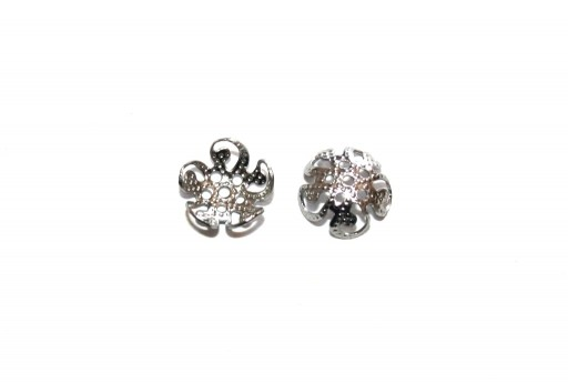 Stainless Steel Bead Caps Flower - Platinum 8mm - 20pcs