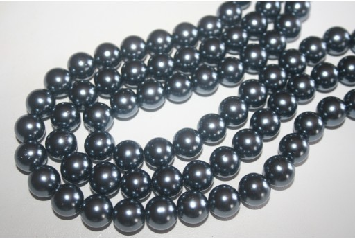 Glass Beads Round Grey 14mm - 30pcs