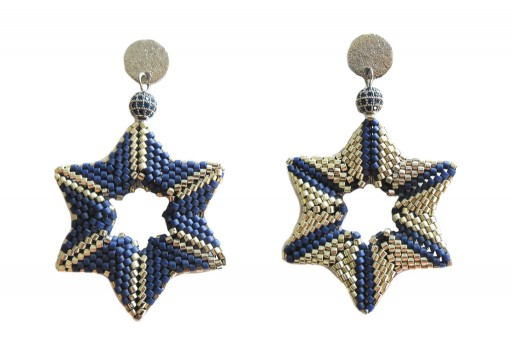 DIY Kit Double Star Earrings Metallic Dark Grey Blue Matted