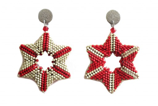 DIY Kit Double Star Earrings Dyed Semi-Matte Opaque Red