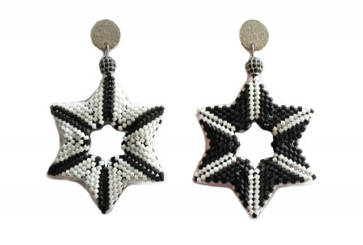 DIY Kit Double Star Earrings Black Matted
