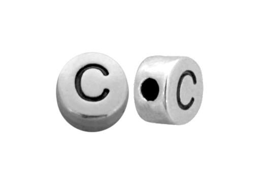 Antique Silver Plated Alphabet Bead - Letter C 7mm - 10pcs